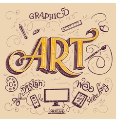 Art hand-lettering typography card vector
