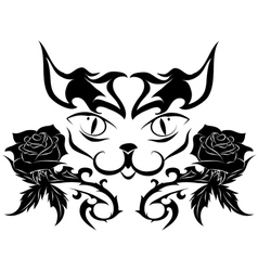 Muzzle of a cat with roses - tattoo vector