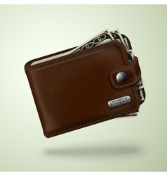 Classic brown leather wallet with banknotes vector