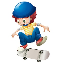 An energetic young boy skateboarding vector
