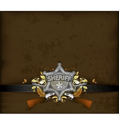 Ornate frame with sheriff star vector
