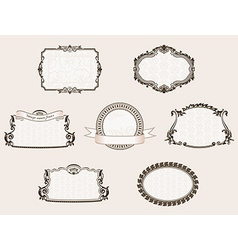 Framework set ornate and vintage decor elements vector