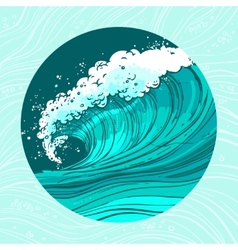 Sea waves circle vector