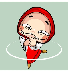 Cartoon funny toothless girl in kerchief dancing vector