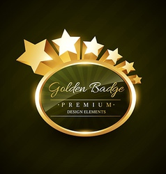 Golden badge design with stars vector