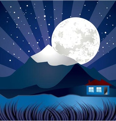 Night landscape with river vector