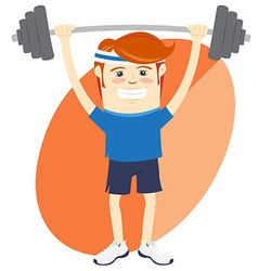 Hipster funny man lifting barbell flat style vector