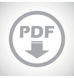 Grey pdf download sign icon vector