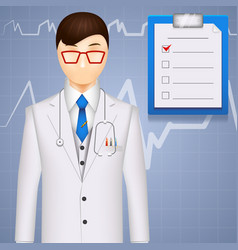 Md or cardiologist on a cardiogram background vector