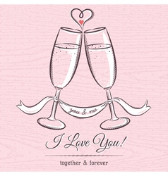 Romantic card with two glass of champagne vector