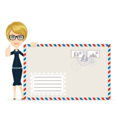 Happy female delivering mail over white background vector