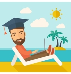 Man with laptop on the beach vector