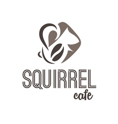 Abstract icon of squirrel and coffee vector