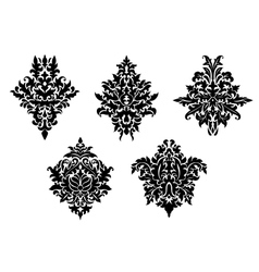 Set of five different foliate arabesques vector