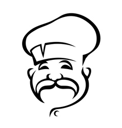 Happy chef with a droopy moustache vector