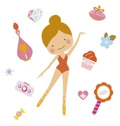 Cute clip art set with ballerina vector