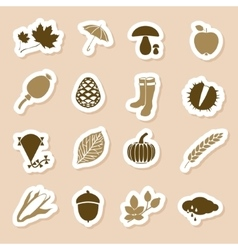 Autumn icon labels vector