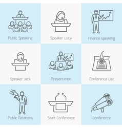 Set of public speaking icons vector