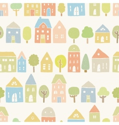 Cute houses and trees pattern vector