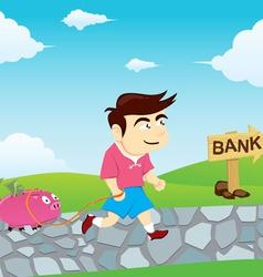 Boy go to bank vector
