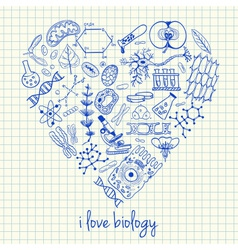I love biology doodles in heart vector