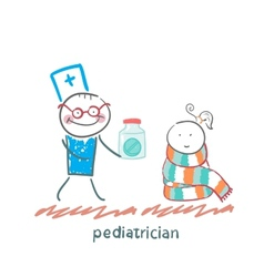 Pediatrician giving medicine to a child vector