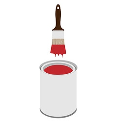 Paint can and paintbrush vector