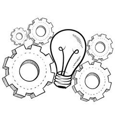 Doodle idea gears lightbulb vector