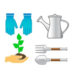 Set tools - colorful garden utensil vector