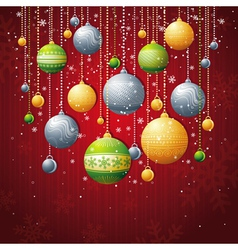 Red card with christmas balls vector
