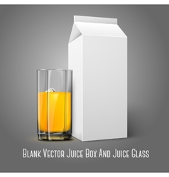 Realistic white blank paper package and glass for vector