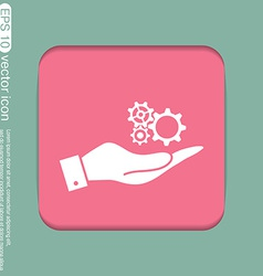 Hand holding a cogwheel icon setting and repair vector