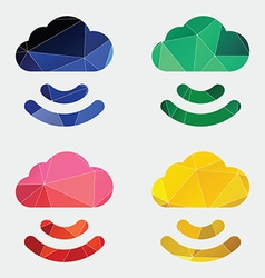 Connect cloud icon abstract triangle vector