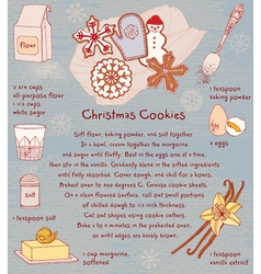 Christmas cookies recipe card vector