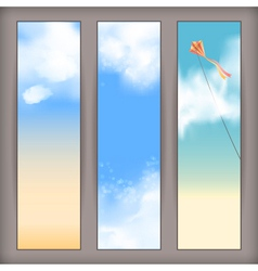 Sky banners with white clouds and flying kite vector