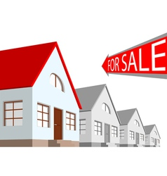 House and the arrow labeled for sale on a white ba vector