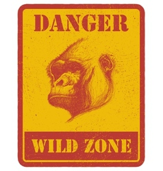Warning sign danger signal with gorilla eps 8 vector
