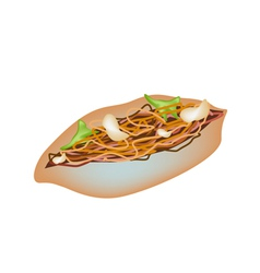 Delicious yakisoba pan on a white background vector