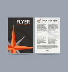 Flyer design template with compass or wind rose vector