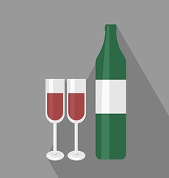Wine bottle ant two glasses flat icon vector