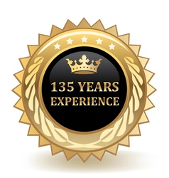 Hundred thirty five years experience badge vector