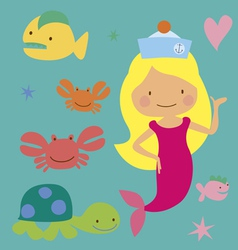 Cute mermaid with sea animals vector