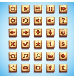 Large set of wooden square buttons for the user vector