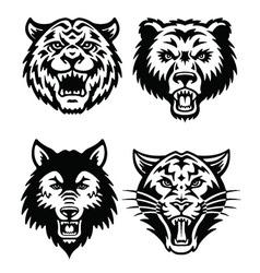 Animal mascot logo set vector