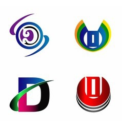 Letter d logo design sample icon set vector