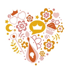 Decorative heart from flowers and girlish elements vector