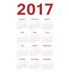 Simple red european calendar 2017 vector