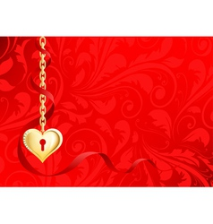 Gold heart on a chain on a red background with pat vector
