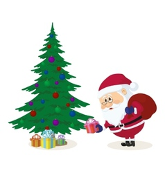 Santa claus putting gifts under fir tree vector