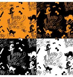 Halloween seamless pattern with black cat bats vector